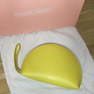 Mansur Gavriel Yellow Calf Half Moon Clutch Bag